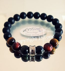 Bracelet Obsidian mate Tigers Eye 3 col - The Conquerer