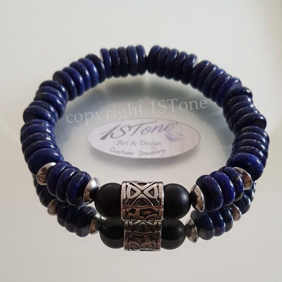 1STone - Bracelet Lapis Lazuli Button & Obsidian matte