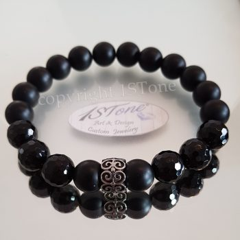 1STone -Bracelet Obsidian matte & Agate 128 facettes withTribal