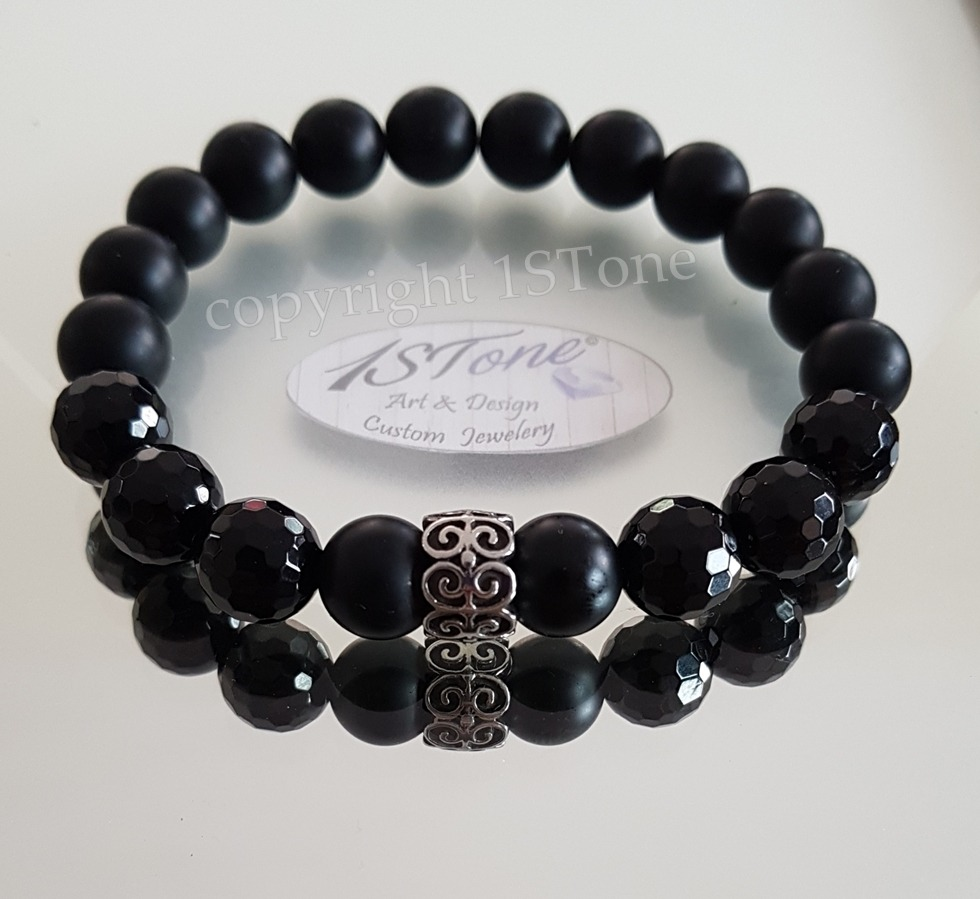 Men´s Bracelet Obsidian matte & facetted Agate