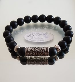 1STone Men Bracelet matte Obsidian 10mm with Stainless Steel Tribal Tube