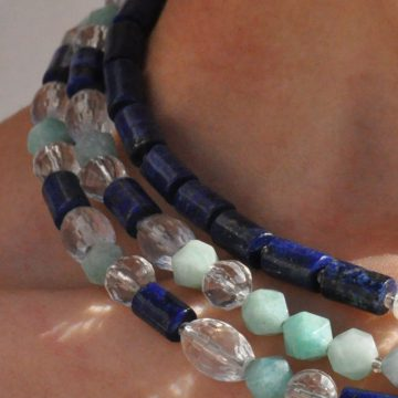 3 Line Collar Amazonite Lapis Lazuli Rock-Crystal Ocean & Sky