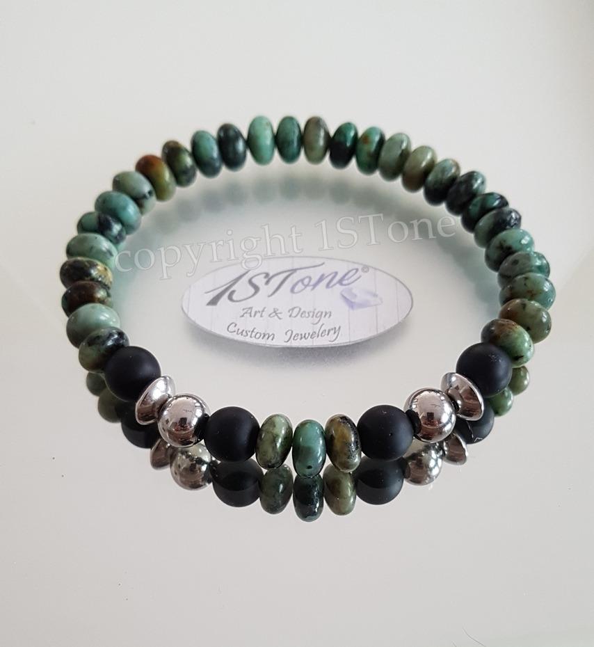 1STone Mens Comfort Braceletet African Turquoise