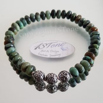 1STone Premium Bracelet African Turquoise & carved Rounds