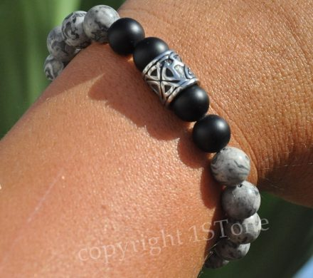 Mens Leaders Bracelet Stainless Steel grey Turitella Jasper matte finished Obsidian & Stainless Steel Magnetic Clasp