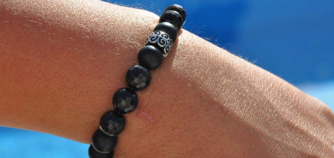 Obsidian matt Achat facettiert Stainless Steel Tribal 02