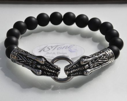 Dragons King Bracelet Obsidian matte & St.-Steel my1STone Jewelry