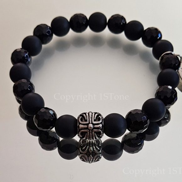 Facets of Night Premium Comfort Gemstone Bracelet Black Agate faceted & Obsidian matt finished with Stainless Steel by 1STone Art & Design Custom Jewelr_162635-900x