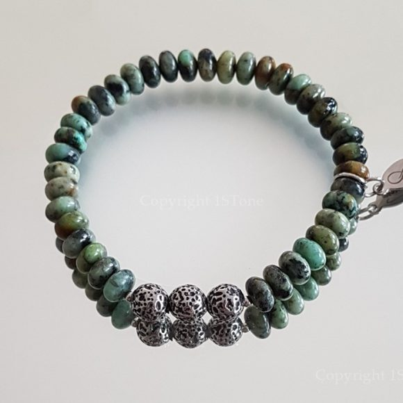 Gemstone Premium Comfort Bracelet African Tourquoise Queen of the Jungle with Titanum Stainless Steel Leopard Rounds by 1STone Art & Design Custom Jewelry