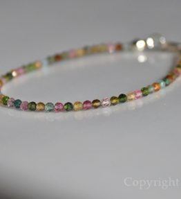 Ladies Delicate Line custom-made 3mm faceted multicolour AAA Grade Tourmaline Bracelet by 1STone Art & Design Custom Jewelry