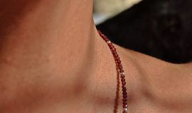 Ladies delicate faceted 2mm Garnet Gemstone Necklace handcrafted by 1STone Custom Jewelry Fuerteventura Canary Islands