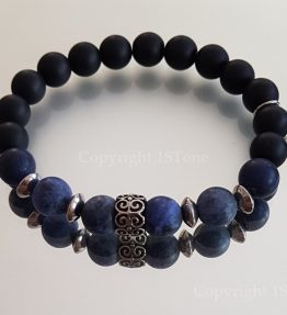mate finshed Sodalite Premium Comfort Bracelet with black Obsidian & Stainless Steel by 1STone Art & Design Custom Jewelry_170817-900x
