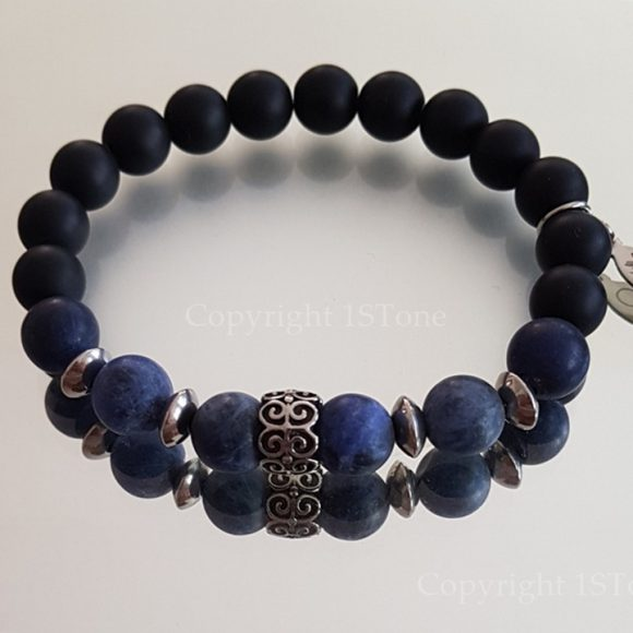 mate finshed Sodalite Premium Comfort Bracelet with black Obsidian & Stainless Steel by 1STone Art & Design Custom Jewelry