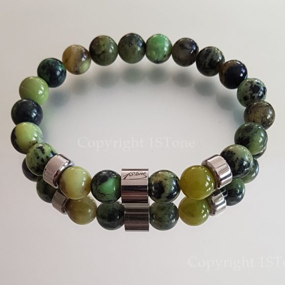 1STone Premium Comfort Gemstone Bracelet Chrysoprase Queensland & Titanum Stainless Steel custom-made 1STone Art & Design Custom Jewelry