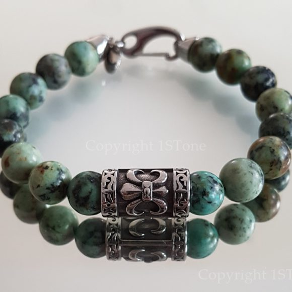 African Turquoise & Fleur de Lys Men´s Premium Comfort Bracelet by 1STone Art & Design Custom Jewelry Fuerteventura_
