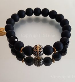 Dragonfly Premium Comfort Gemstone Bracelet Black Agate faceted & Obsidian matt finished with Stainless Steel by 1STone Art & Design Custom Jewelr