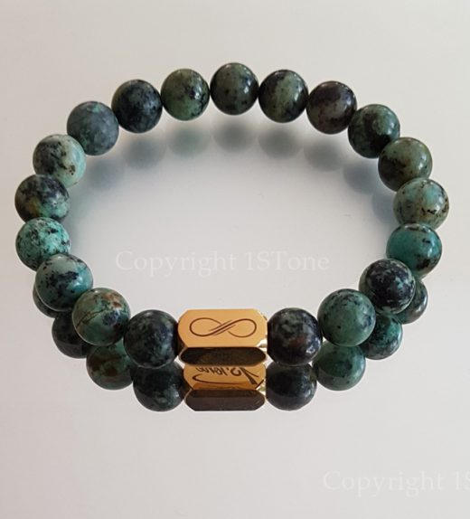 Gemstone Premium Comfort Bracelet Back from Nubia African Turquoise with Titanum Stainless Steel Golden 1STone & Infinity by 1STone Art & Design Custom Jewelry Fuerteventura