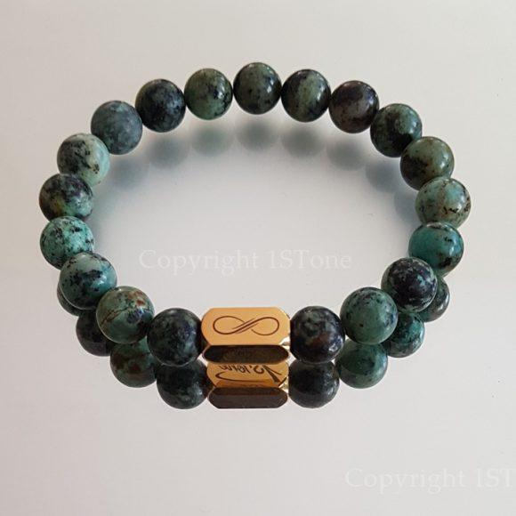 Gemstone Premium Comfort Bracelet Back from Nubia African Turquoise with Titanum Stainless Steel Golden 1STone & Infinity by 1STone Art & Design Custom Jewelry Fuerteventura