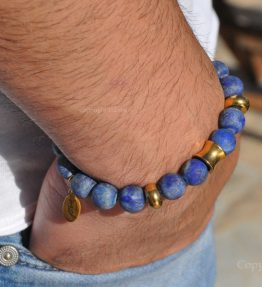 Gemstone Premium Comfort Bracelet Lapis Lazuli matte finished with Titanum Stainless Steel Golden Cone & Button by 1STone Art & Design Custom Jewelry_DSC_7717-900x