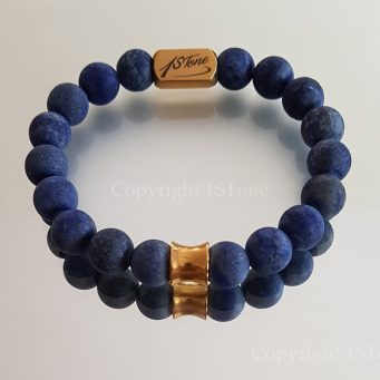 Mens Premium Comfort Bracelet Lapis Lazuli matt finished & Atainless Steel Gold Column high quality elast by 1STone Art & Design Custom Jewelry