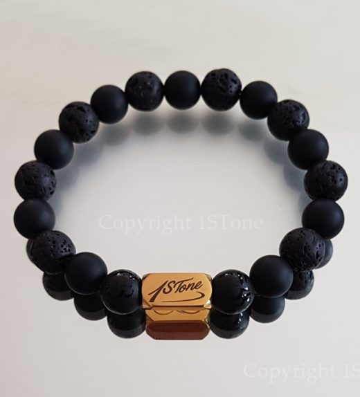Greets from Lhasa custom made Bracelet pure Volcanic Lava & Obsidian Rounds with the Gold Titanum laser engraved Stainless Steel Ingot by 1STone Art & Design