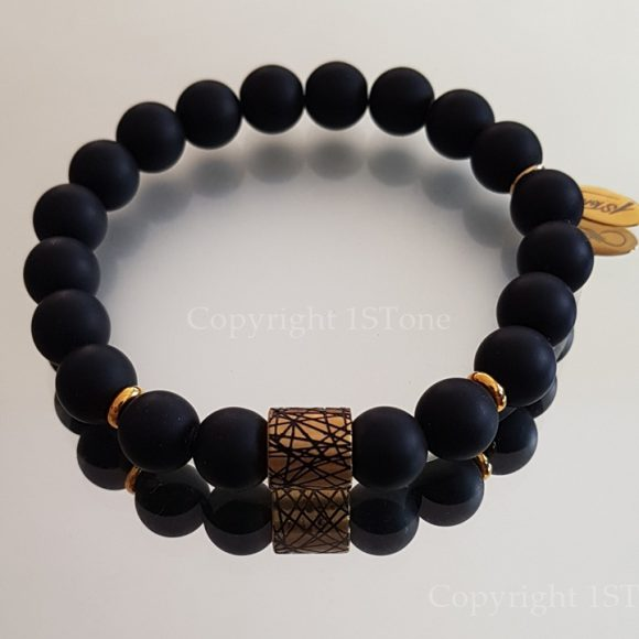 Jet Map Gold Mens Gemstone Premium Comfort Bracelet Obsidian matt finished & faceted Black Agate with Titanum Stainless Steel Gold by 1STone Art & Design Custom Jewelry