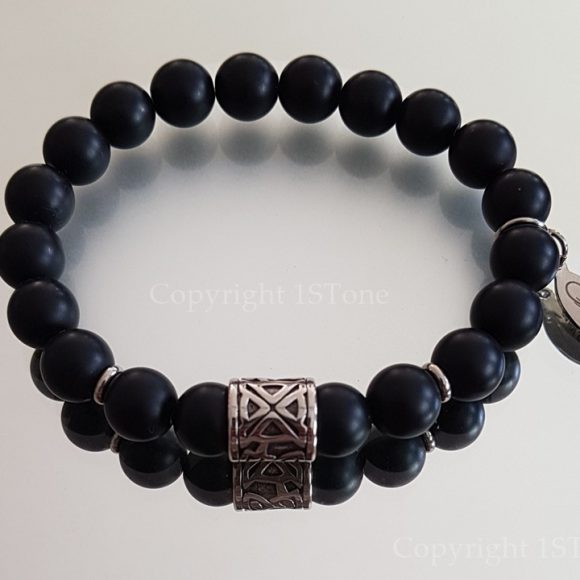 Mens Premium Comfort Bracelet Obsidian matt finished with Titanum Stainless Steel Cross Pimo Tribal by 1STone Art Design Custom Jewelry