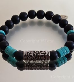 Mens Premium Comfort Bracelet Turquoise Wheels with Obsidian matt-finished and Titanum Stainless Steel Drum by 1STone Art & Design Custom Jewelry