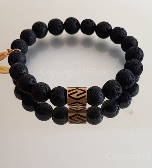 Lava Mens Premium Comfort Bracelet & Stainless Steel Gold with CNC Cut Laser engraved by 1STone Art & Design Custom Jewelry