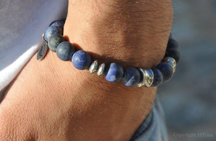 Steel Blue 1STone Premium Comfort Gemstone Bracelet Lapis Lazuli matt finished & Titanum Stainless Steel custom-made by1STone Art & Design Custom Jewelry