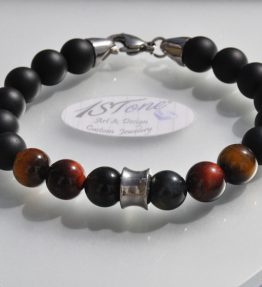 The Conquerer Bracelet 3 col Tigers Eye Stainless Steel Carabiner Clasp my1STone by 1STone Art & Design Custom Jewelry Fuerteventura