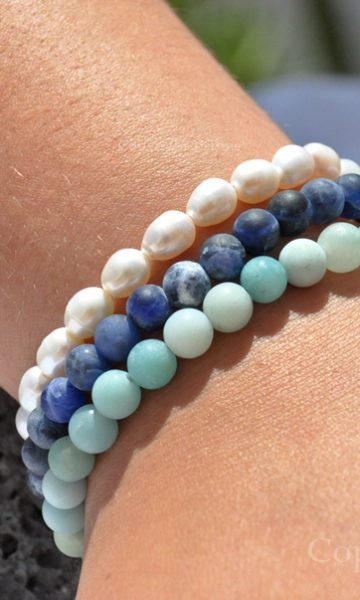 Womens 3 Gemstone Bracelets Pack Beach & Ocean Sodalite cultivated Pearls Amazonite by 1STone Art & Design Custom Jewelry My1STone Shop