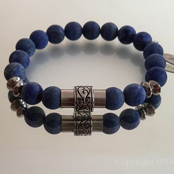 1ST Leaders Mens custom-made Gemstone Bracelet Lapis Lazuli matt finished & Stainless Steel Magnetic Clasp by 1STone Art & Design Custom Jewelry Fuerteventura