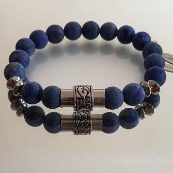 1ST Leaders Mens custom-made Gemstone Bracelet Lapis Lazuli matt finished & Stainless Steel Magnetic Clasp by 1STone Art & Design Custom Jewelry Fuerteventura