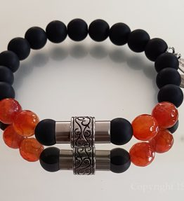 1ST Leaders Mens custom-made Gemstone Bracelet faceted Fire Agate & matt Obsidian with Stainless Steel Magnetic Clasp by 1STone Art & Design Custom Jewelry