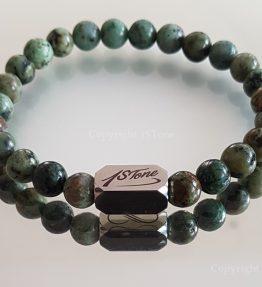 African Savage Mens Premium Comfort Turquoise Gemstone Bracelet custom-made by 1STone Art & Design Custom Jewelry