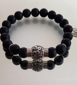 1ST Leaders Magnetic Clasp Bracelet Black Obsidian matt – Capo custom-made by 1STone Art & Design Custom Jewelry Fuerteventura