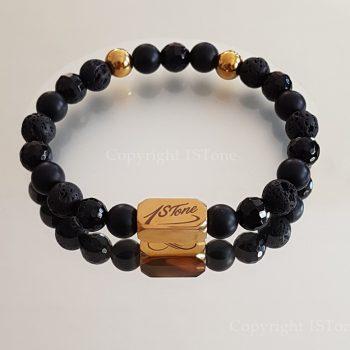 3 Ways of Black n Gold Gemstone Bracelet custom-made for Her & Him by 1STone Art & Design Custom Jewelry Fuerteventura