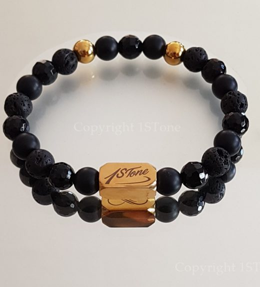 3 Ways of Black n Gold Gemstone Bracelet custom-made for Her & Him by 1STone Art & Design Custom Jewelry Fuerteventura