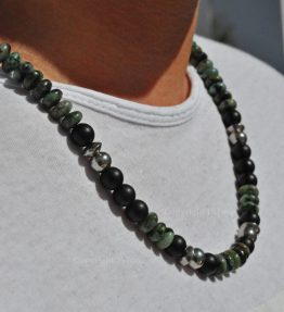 African Turquoise & matt Black Obsidian 1ST Leaders Necklace – Out of Africa by 1STone Art & Design Custom Jewelry Fuerteventura 1STone born by Nature bespoken custom-made by us