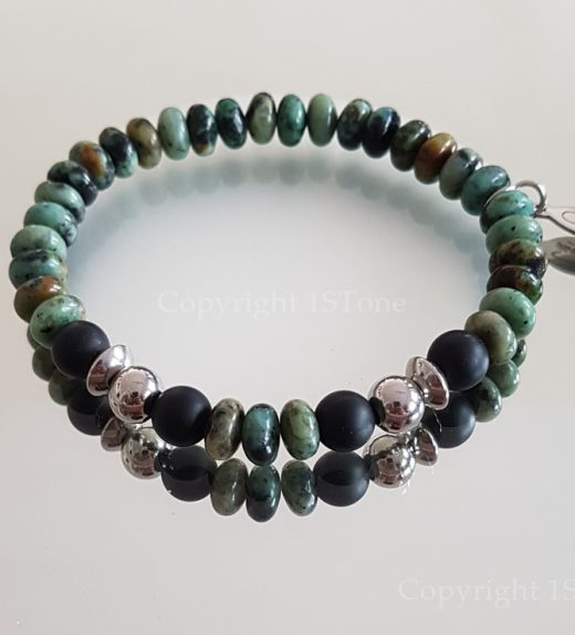 African Turquoise custom-made Gemstone Bracelet for Her & Him Premium Comfort by 1STone Art & Design Custom Jewelry Fuerteventura