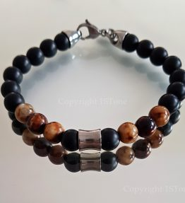 Brown Agate custom-made Gemstone Bracelet for Her & Him Carabiner Clasp Stainless Steel by 1STone Art & Design Custom Jewelry Fuerteventura