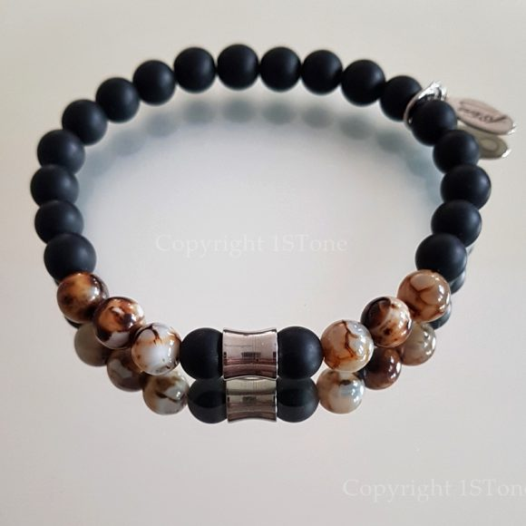 Black matt Obsidian & Brown Agate custom-made Gemstone Bracelet for Her & Him Premium Comfort by 1STone Art & Design Custom Jewelry Fuerteventura