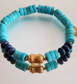 Chief of Legends custom-made Gemstone Bracelet Turquoise & Dumortierit by 1STone Art & Design Custom Jewelry Fuerteventura