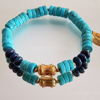 Chief of Legends custom-made Gemstone Bracelet Turquoise & Dumortierit by 1STone Art & Design Custom Jewelry Fuerteventura