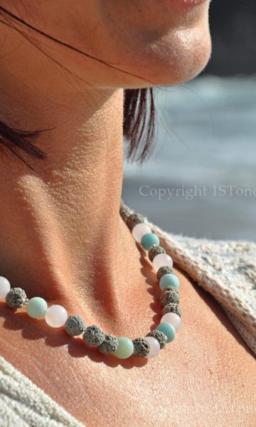 Womens 1ST Necklace Rose Quartz Amazonite matt finished with smooth light grey Lava Summe Breeze by 1STone Art & Design Custom Jewelry