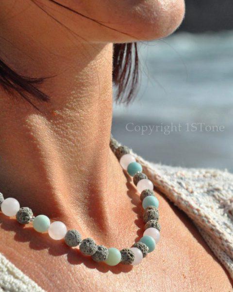 Womens 1ST Necklace Rose Quartz Amazonite matt finished with smooth light grey Lava Summe Breeze by 1STone Art & Design Custom Jewelry