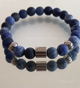 Deep Ocean Premium Comfort Bracelet for Her & Him Sodalite Namibia AA Grade with Titanium Stainless Steel by 1STone Art & Design Custom Jewelry Fuert
