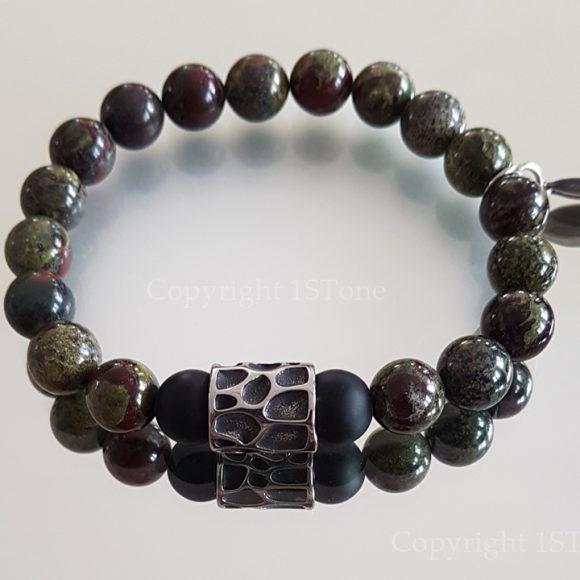 Dragon Blood Stone custom-made Premium Comfort Bracelet Jungle Drum by 1STone Art & Design Custom Jewelry Fuerteventura