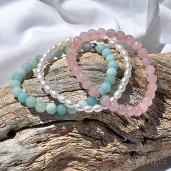 Facets of Summer 3 Premium Comfort Bracelets Pack for Women Rose Quartz faceted Pearls Amazonite custom-made by 1STone Artt & Design Custom Jewelry